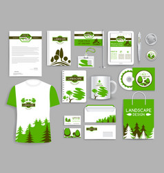 Corporate identity set landscape design company vector