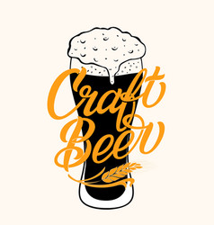 craft beer typography on full glass with vector image
