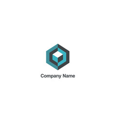 cube 3d geometry construction company logo vector image