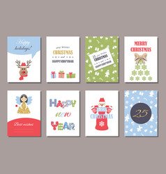 cute christmas and new year card templates set vector image