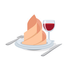 Cutlery set with wineglass plate napkin icon vector