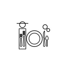 Dinner table etiquette icon can be used for web vector