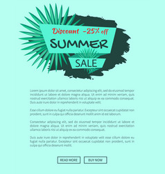 discount 25 off summer sale emblem with palm tree vector image