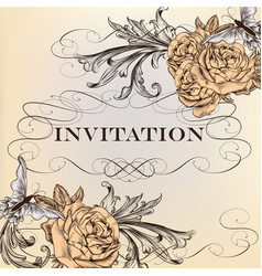 elegant invitation card with roses vector image
