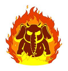 Elephantthe evil red horns fire devil vector