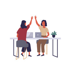employees in coworking open office flat vector image