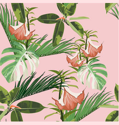 exotic monstera ficus and palms leaves vector image