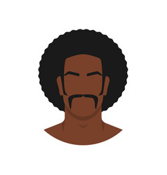 Face black man with retro afro hairstyle vector