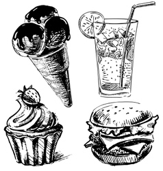 Fast food and desserts set vector image