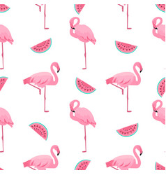 flamingo and watermelon summer tropical seamless vector image