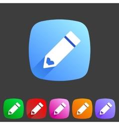 Flat pencil icon colorful icon vector image