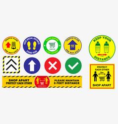 Floor social distancing stickers vector