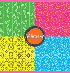Flower leaves and floral seamless textures vector