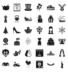 Folklore holiday icons set simple style vector