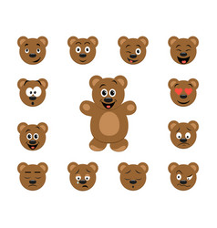 funny cartoon bear emoticon set vector image