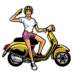 Girl ride the scooter vector