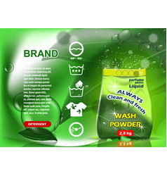 Green packaging washing powder advertising on vector