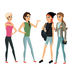 Group people female talking vector