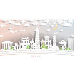 Hanoi vietnam city skyline in paper cut style vector