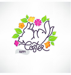 happy easter doodle design template for your vector image