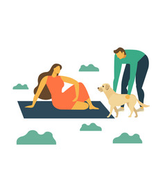 Happy family on picnic young man woman and dog vector