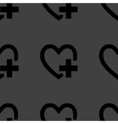 Heart web icon flat design Seamless pattern vector image