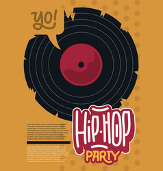 hip hop poster template design with a broken vinyl vector image