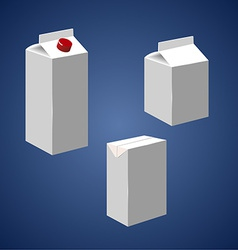 Juice milk blank white carton boxes packages vector image