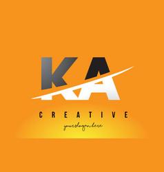 Ka k a letter modern logo design with yellow vector