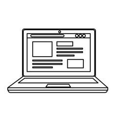 Laptop computer with webpage template vector