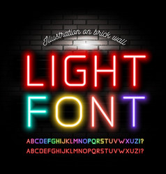 light neon fonts on brick wall background vector image