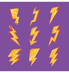 Lightning bolt set vector
