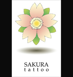 logo sakura tattoo with tattoo style vector image
