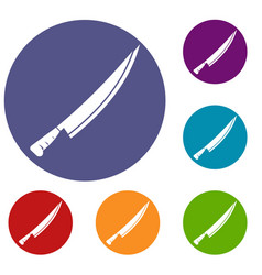 Long knife icons set vector