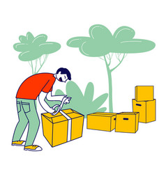 Man packing box with donating things charity vector