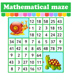 mathematical rectangle maze snail and turtle game vector image
