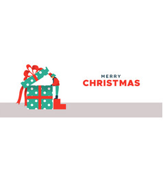 merry christmas banner kid opening gift box vector image