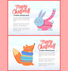 merry christmas happy winter days greeting card vector image