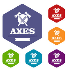 military axe icons hexahedron vector image