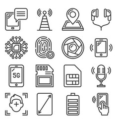 mobile phone specification icons set on white vector image