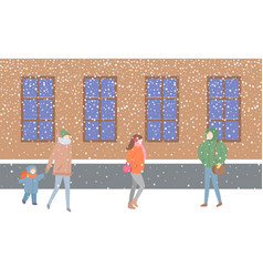 Mother and kid passing by building with windows vector