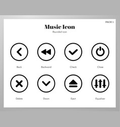 Music icons rounded pack vector