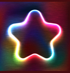 Neon glowing icon of star vector