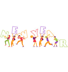 new year text design with vector image