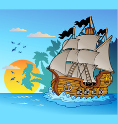 old vessel with island silhouette vector image