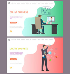 Online business distant conference with worker vector
