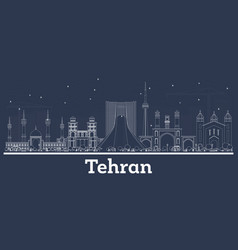 Outline tehran iran city skyline with white vector