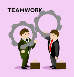 pair of businessmen holding gear pieces teamwork vector image