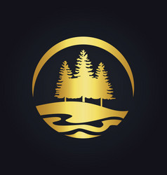 Pine tree mountain hill gold logo vector