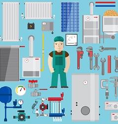 Plumbing and heating elements Heating equipment vector